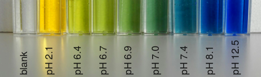 A test tube rack with tubes showing Bromothymol blue indicator solution colours at different pH